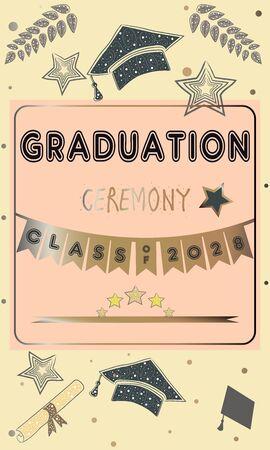 毕业典礼上宣布。丰富的金色风格与金色闪光元素。祝贺你毕业。