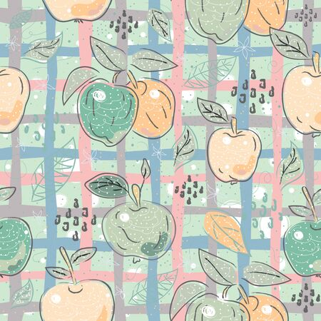 Cute Seamless Pattern with Apples. Scandinavian Hand Drawn Style. 写真素材