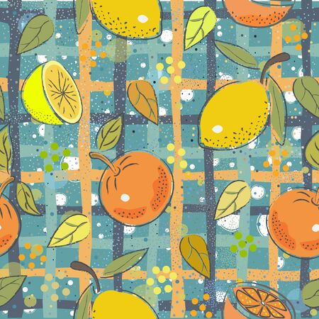 Seamless Pattern with cute lemons and oranges. Scandinavian Hand Drawn Style.