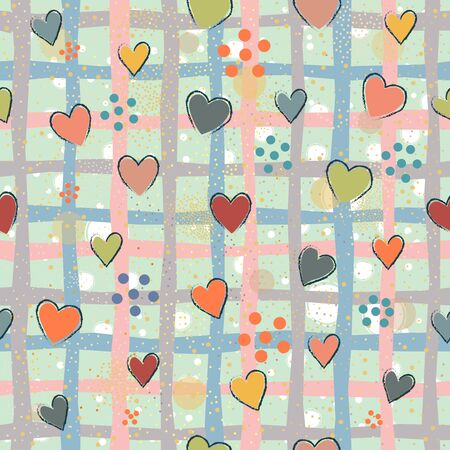Seamless Pattern with Hearts. Scandinavian Style.