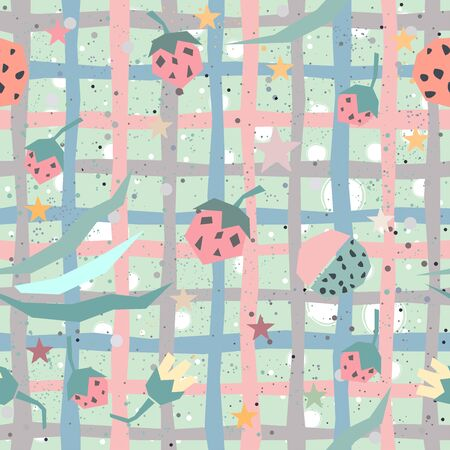 Seamless Pattern with plants and strawberry. Vector Illustration.