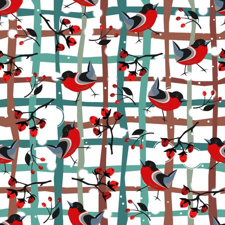 Bird Seamless Pattern. Bullfinch birds on a modern red background with red berries of rowan and brier. WinterMerry Christmas Collection.Vector Illustration.  Stock fotó
