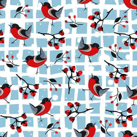 Bird Seamless Pattern. Bullfinch birds on a modern teal background with red berries of rowan and brier. WinterMerry Christmas Collection.Vector Illustration.