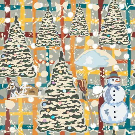 Winter Seamless Pattern with bunnies, spruce trees and snowman. Blue Background with transparent bear and other winter doodles. Creative Design. Vector Illustration. Stock fotó