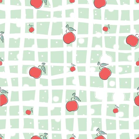 Cute Seamless Pattern with red apples background. hand Drawn Delicate Design. Scandinavian Style. For cards, templates, gift paper, prints, decorations, templates, etc. Vector Illustration Stock fotó