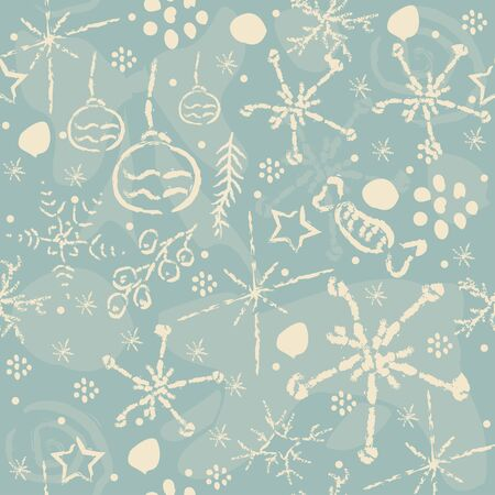 Cute Winter Pattern with bears and ornaments. Vector Illustration.