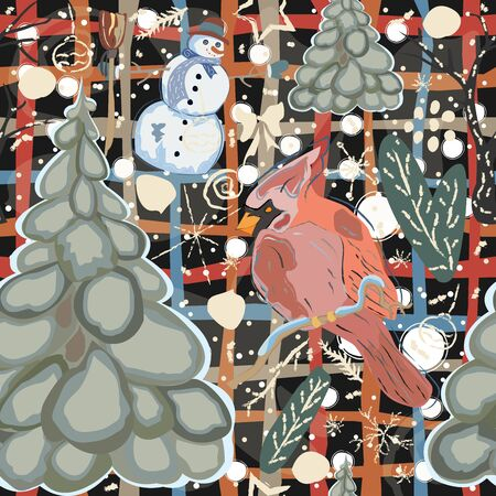 Cute Winter Pattern with Snowman and spruce trees on cute background with winter paintbrush doodles. Vector Illustration