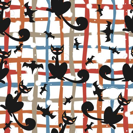 Seamless pattern of Halloween cats and bats in black, traditional orange background. Good for textile print, web, paper, wrapping, fabric, backgrounds, cards, postcards, page fill. Ilustración de vector