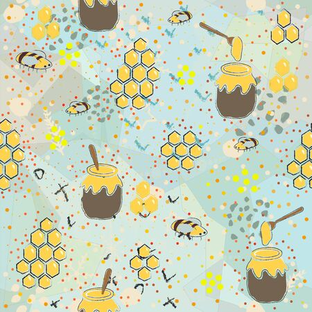 Seamless Pattern with Honey. Scandinavian Style.