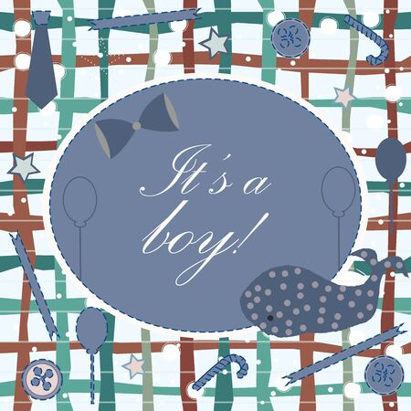 Baby Boy Birth announcement. Baby shower invitation card. Cute whale announces the arrival of boy. Card Design on Teal Background with ribbons, tie, bow, etc. Modern Design. Vector Illustration.