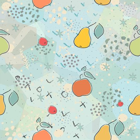 Cute Background with pears, apples and dots.