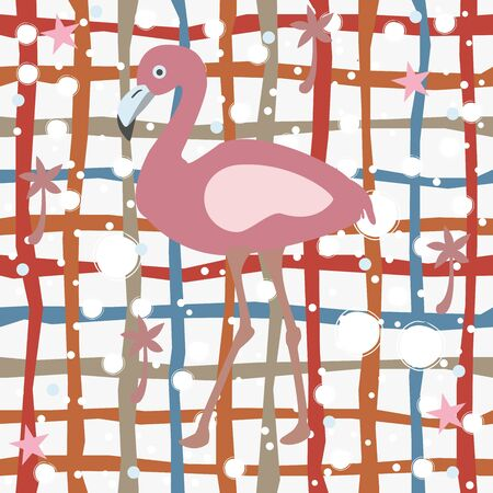 Cute Pink Flamingo with Palms and Stars on white Background with Stripes. Summer Collection. Vector Illustration. Ilustração