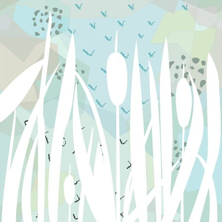 Silhouette of Reed Bush on blue. Vector Illustration Ilustração