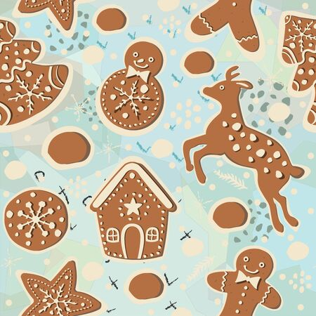 Gingerbread cookie seamless background. Creative Design. Vector Illustration