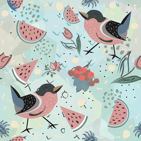 Floral Seamless Pattern with birds and berries. For backgrounds, wallpapers, fabric, prints, textiles, cards, swatches, t-shirts, scrapbooks, blankets, pillows, etc. Unique Delicate Design. Иллюстрация
