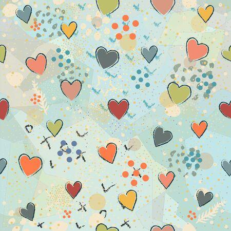 Seamless Pattern with Hearts. Scandinavian Style.
