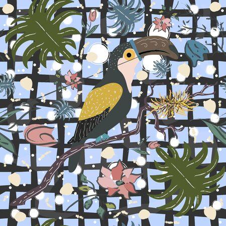 Hand Drawn Toucan Bird with nest. vector Illustration Иллюстрация