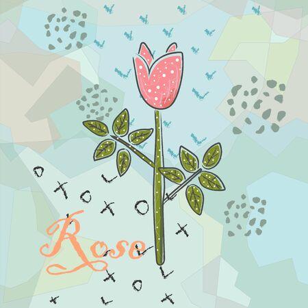 Stylish Icon Of a Flower. Hand Drawn Delicate Design. Scandinavian Style. Vector Illustration Иллюстрация