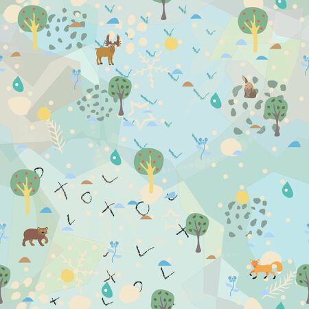 Seamless Summer Pattern with forest animals. For backgrounds, wallpapers, fabric, prints, textiles, wrapping, cards, cover. Illusztráció