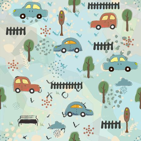 Cute Seamless Pattern with Cars.