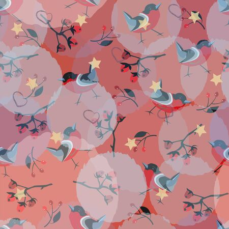 Bird Seamless Pattern. Bullfinch birds on a modern red background with red berries of rowan and brier. WinterMerry Christmas Collection.Vector Illustration.  Stock Illustratie