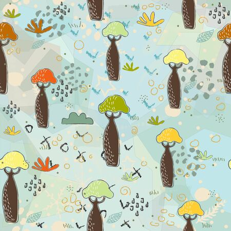Seamless Pattern with Colorful Baobabs. Scandinavian Style.