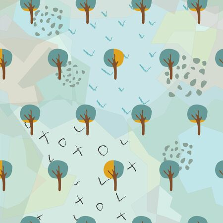 Seamless Tree Pattern with small trees on dotted background. Vector Illustration