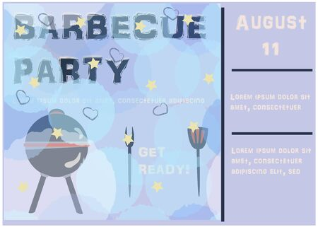 Barbecue Party Announcement. Retro Style. Vector Illustration