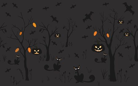 Halloween Background with silhouettes. Seamless Pattern. Halloween Vector Card, texture or background. Vector Art. Illusztráció