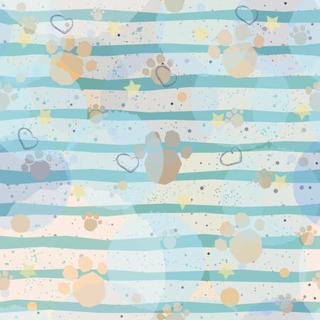 Cute Pattern with Golden dog paws with pastel blue stripes on beige background with tiny dots. Hand Drawn Design. Great for wall art design, gift paper, wrapping, fabric, textile, etc.