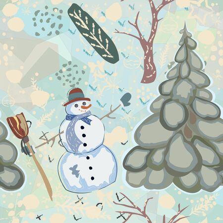 Colorful Seamless Winter Pattern with cute Snowman and Spruce Trees. Vector illustration