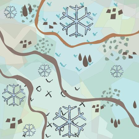Winter Pattern with Hand Drawn Snowflakes and lines. Terracotta. Scandinavian Style mixed with abstract terracotta. Merry Christmas Texture. Vector Illustration Çizim