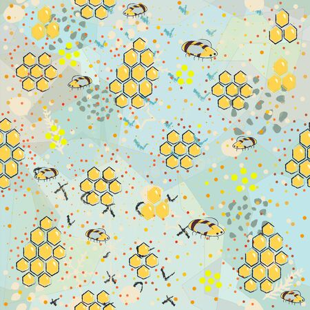 Seamless Pattern with Honey. Scandinavian Style. Vector Graphics Vettoriali
