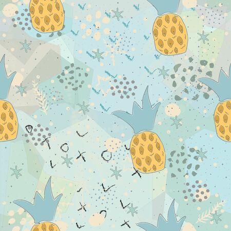 Seamless Pattern with Hand Drawn Pineapples. Scandinavian Style. Delicate Design