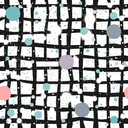 Cute Seamless Pattern. Hand Drawn Bal Design with pastel blue stripes on white background with tiny dots. Abstract Style Design. Vector Illustration