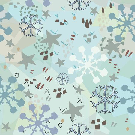 Seamless Winter Pattern with Hand Drawn Snowflakes. Scandinavian Style mixed with abstract terracotta. Merry Christmas Texture. Çizim