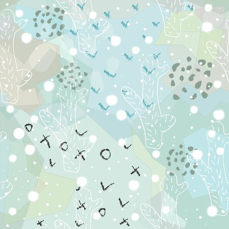 Seamless Pattern with Cacti and leaves. Scandinavian Style. Vector Illustration 일러스트