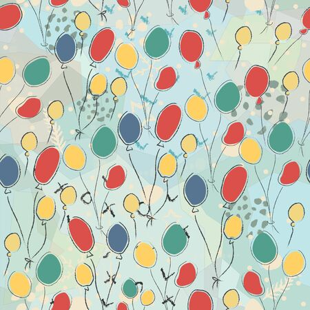Seamless Cute Pattern with colorful air Balloons. Scandinavian Style. Vector Illustration.