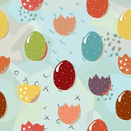 Cute Scandinavian Egg Terracotta Pattern in modern colours. Modern abstract art for prints.  Nordic Design. Illusztráció