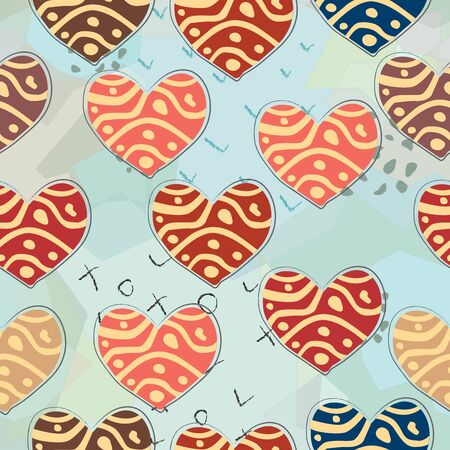 Terracotta Heart Abstract Seamless Pattern. Modern Digital Design. Modern Fashion Scandinavian Style. Contemporary Colors and Design. Illusztráció
