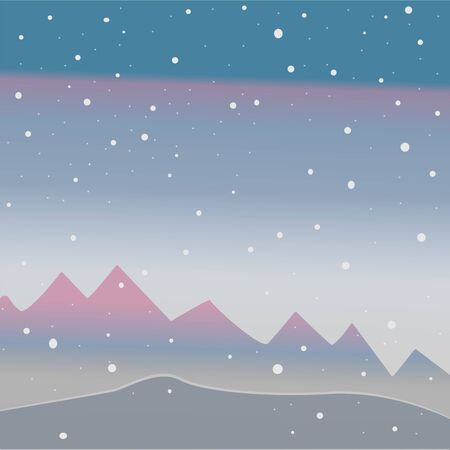 Winter Tree with few berries and Red Birds on a cold looking background with mountains and dark snowy sky. Season Nature. Snowy Natural Landscape. Vector Illustration. Cozy Winter Accent. Ilustrace