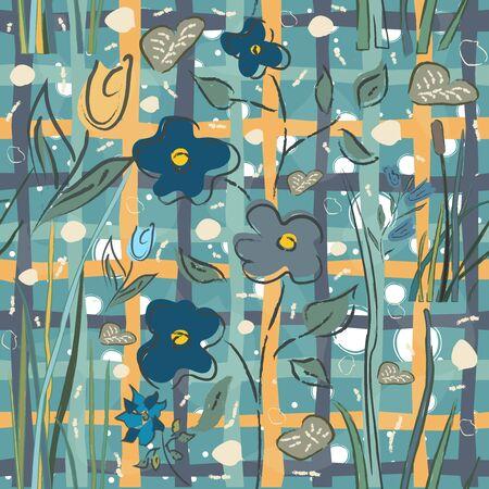 Floral Seamless Pattern. Hand Drawn. Vector Illustration Vecteurs