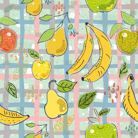 Seamless Pattern with Hand Drawn Cute Fruits. Scandinavian Style. Vector Illustration Illustration