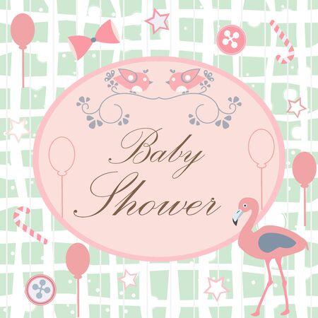 Baby Shower. Diseño de tarjeta con mensaje. Fondo azul con estrellas y burbujas azules. Ilustración de vector