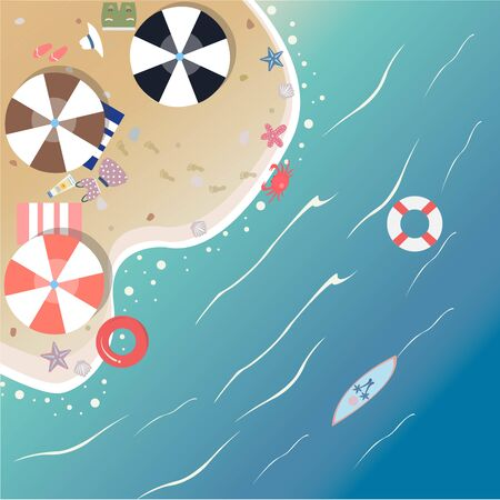 Summer Vector Illustration. Seashore from top view. Background template. Modern Color Design