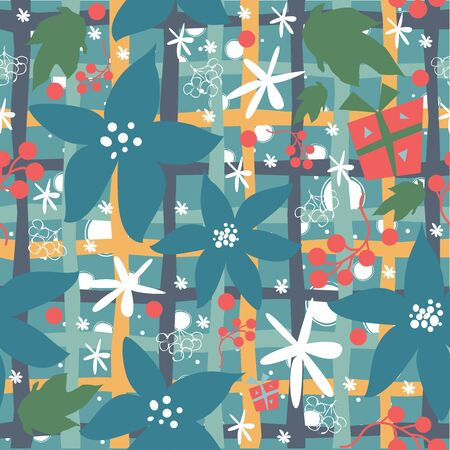 Seamless floral pattern of hand drawn poinsettia, berries, leafs, snowflakes. WinterFallMerry Christmas Collection. Great For backgrounds, wrapping paper, prints, wallpaper, cards, textiles, etc Иллюстрация