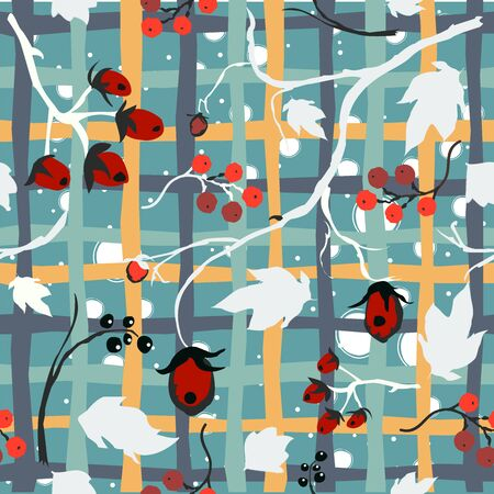Cute Seamless Pattern with berries and plants. Great for Wall Art, t-shirts, cups, fabric, textile, gift wrapping, scrapbooks, etc. Vector Illustration.
