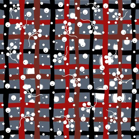 Seamless Pattern with berries on subtle background. Vector illustration.Winter Collection