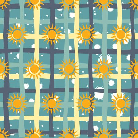 Seamless pattern with suns on white background. Vector Illustration
