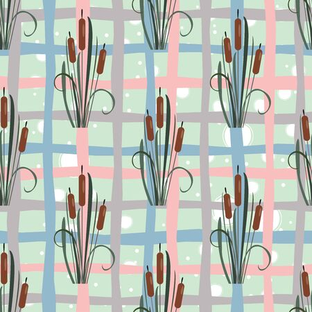 Seamless Pattern with elegant reed bushes on subtle pink background. Vector Illustration